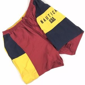 Vintage 90s Nautica Swim Trunks Shorts L Spell Out
